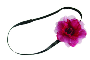 Flat Flower on Flat Elastic Headband - Burgundy