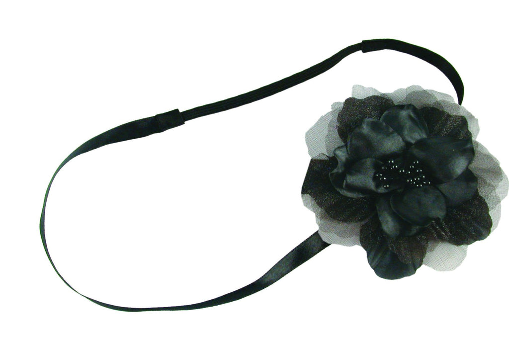 Flat Flower on Flat Elastic Headband - Black
