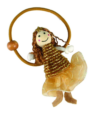Beaded Dress Doll Pony Elastics - Gold