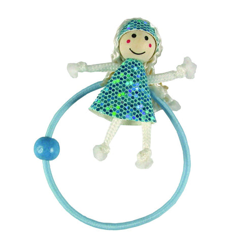 Sequins Dress Doll Pony Elastics - Light Blue