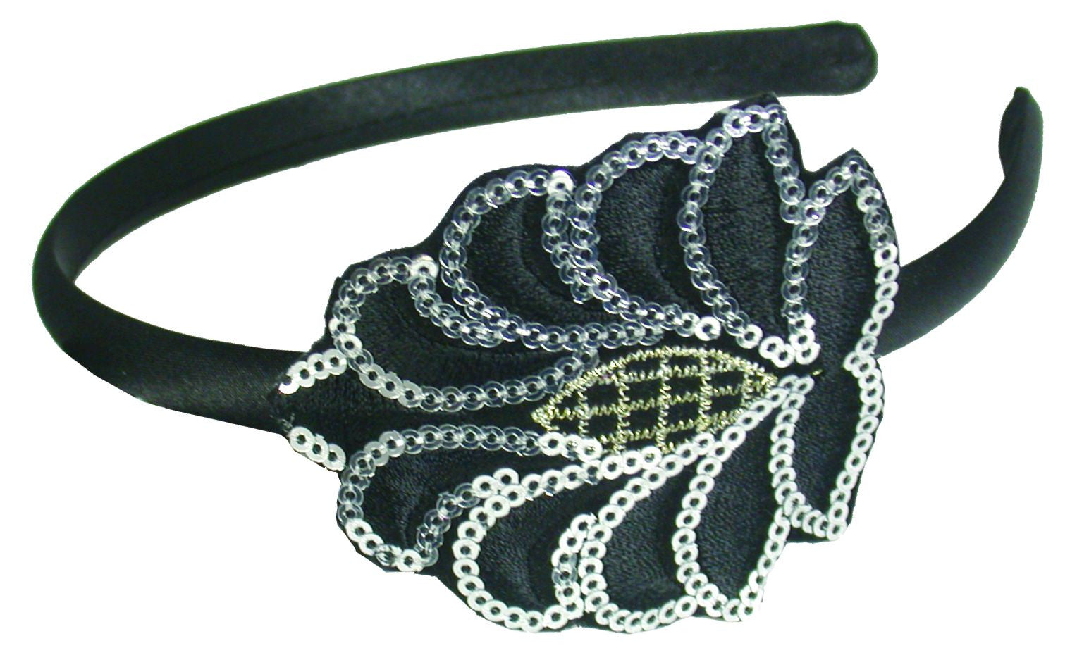 Sequins Embroidered Patch Headband-Black