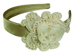 Rosette Applique Satin Headband - Champagne