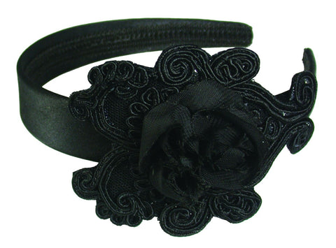 Rosette Applique Satin Headband - Black