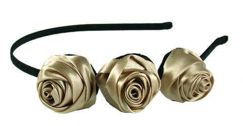 3 Satin Roses Thin Headband-Ivory