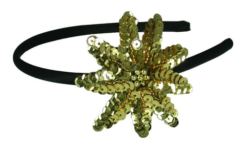 Sequins Flower Thin Headband-Gold