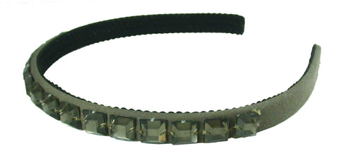 Smokey Square Gem Satin Headband-Charcoal Gray