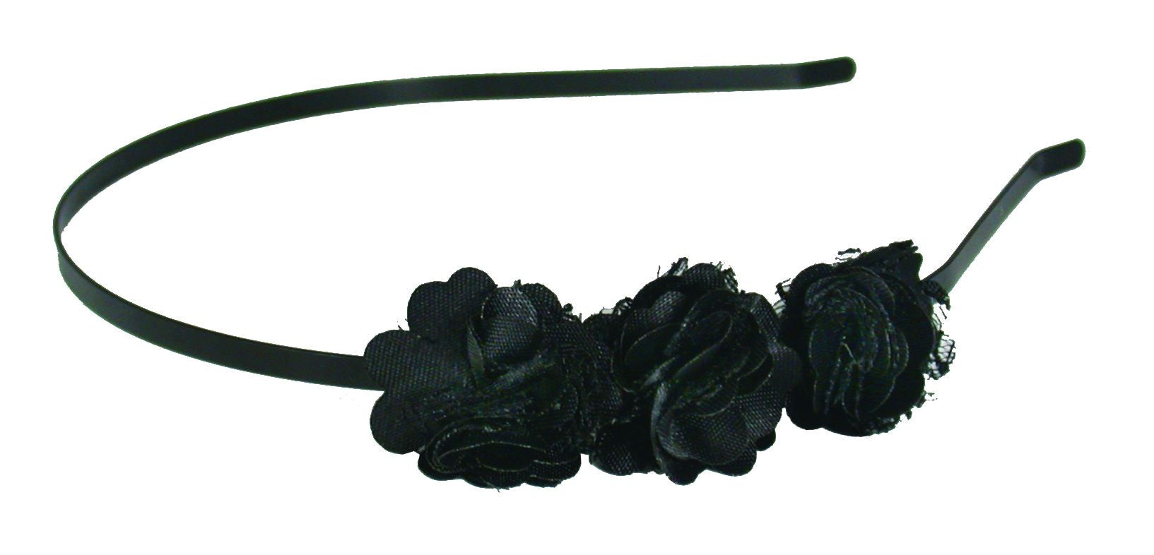3 Flowers Thin Headband-Black
