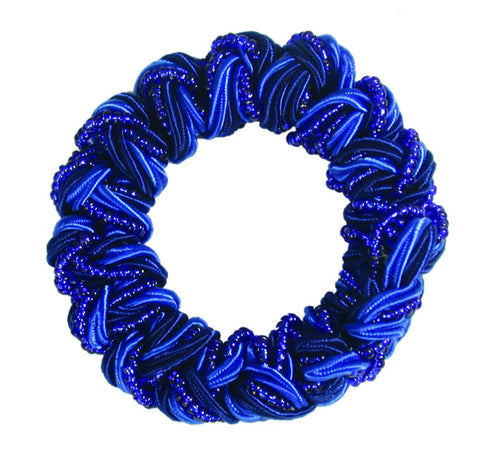 Woven Beaded Satin Cord Pony Elastics-Cobalt Blue