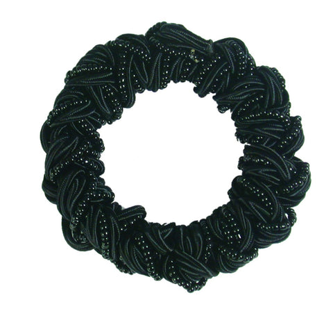 Woven Beaded Satin Cord Pony Elastics-Black