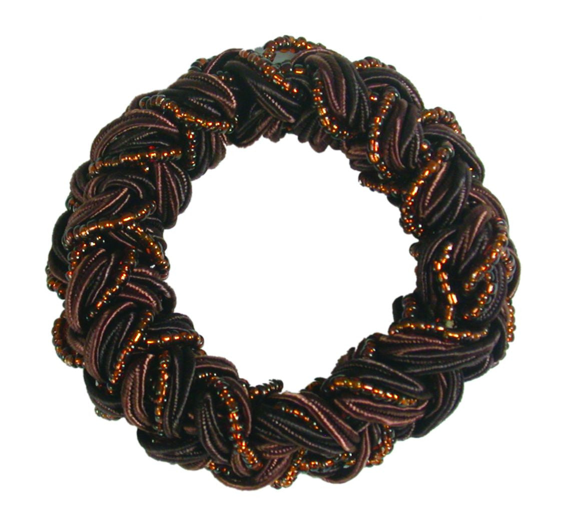 Woven Beaded Satin Cord Pony Elastics-Dark Brown