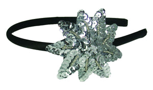 Sequins Flower Thin Headband-Silver
