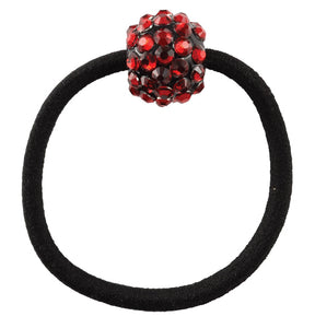 Rhinestone Bead Pony Elastics, Red
