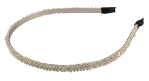Beaded Thin Headband- White