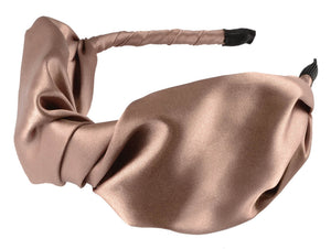 Large Satin Twist Bow- Taupe