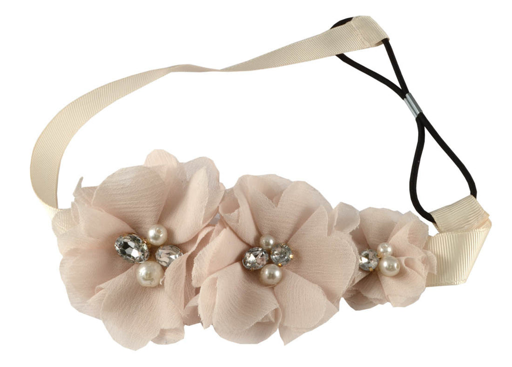 3 Flowers gem pearls Headband-Blush