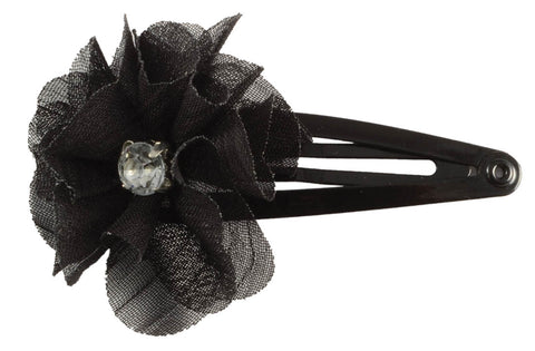 Chiffon Flower Gem Sleep Clips-Black, pr.
