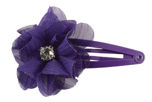 Chiffon Flower Gem Sleep Clips-Purple, pr.