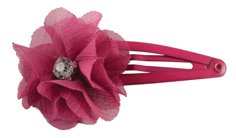 Chiffon Flower Gem Sleep Clips-Fuschia, pr.