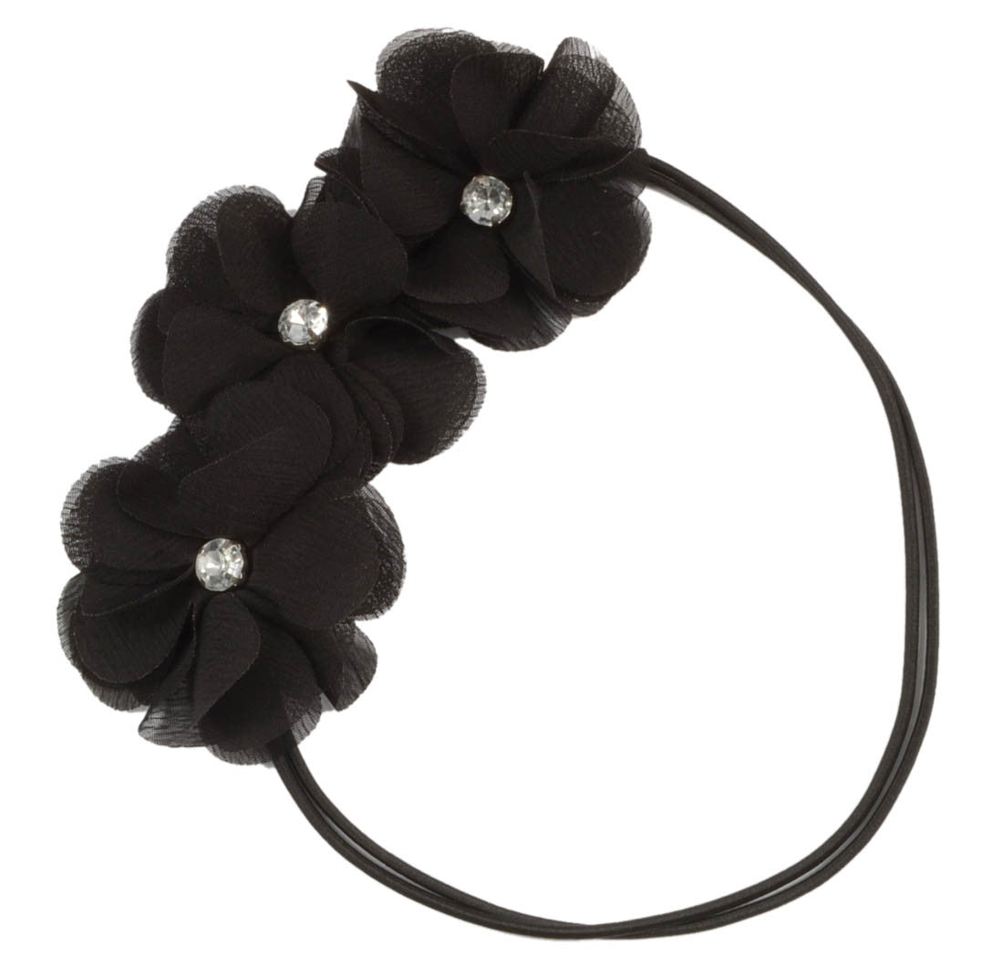 Chiffon Flowers Gem Headband-Black