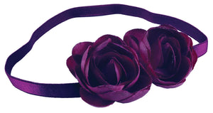 Twin Roses Headband-Plum