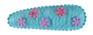 Felt Flowers Sleepclips, pr.Light Blue w/ Pink + Lavender Flowers