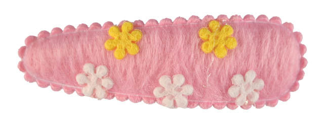 Felt Flowers Sleepclips, pr. Pink w/ Yellow + White Flowers