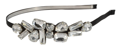 Gem Cluster Headband Black/Clear