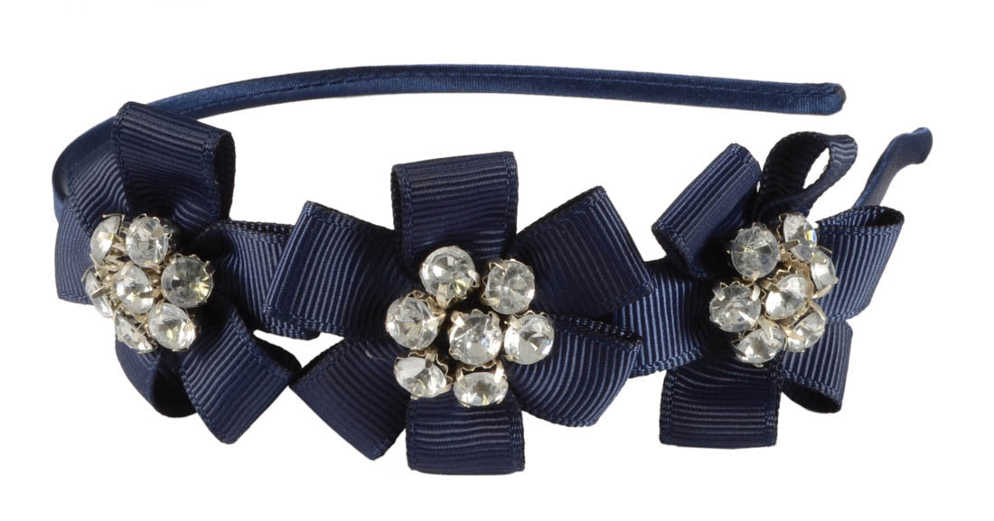3 Ribbon Flower Gems Headband-Navy