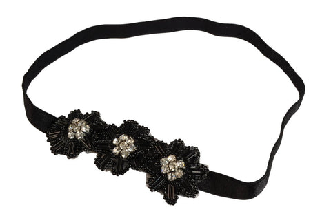 Beaded Gem 3 Flowers Headband-Black