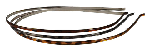 Headband Thin Cheetah-Brown, Gray, Amber. 3 pack