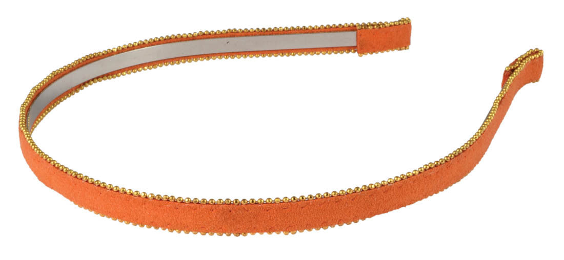 Suede Headband Gold Ball Trim-Orange