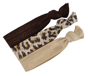 Knotted Ribbon Hair ties, 3pk Browns