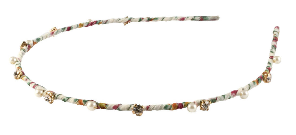 Thin Pearls Flowers Headband- White Floral