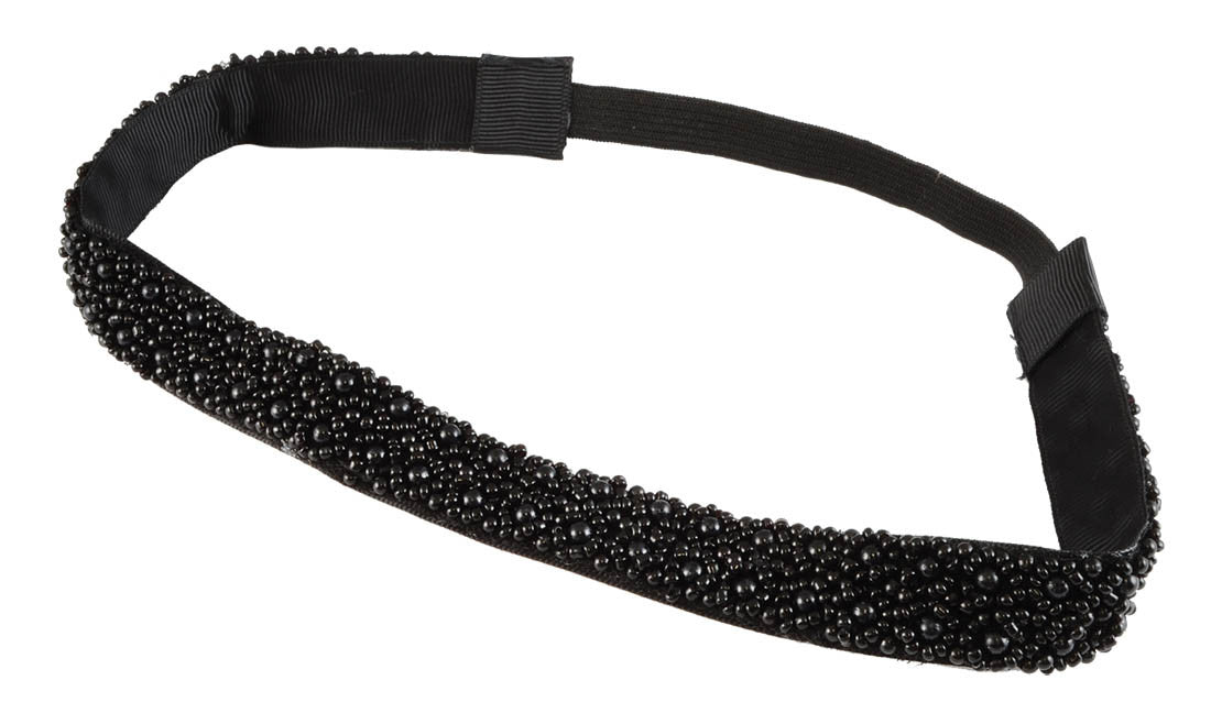 Beaded HB-Black/Pearls