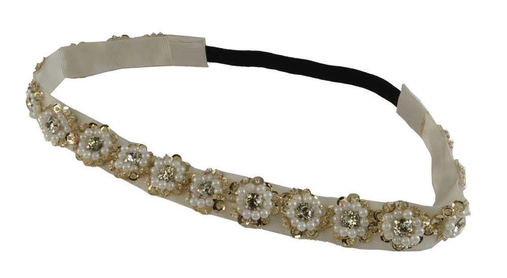 Beaded Gem HB-Ivory gold Flowers