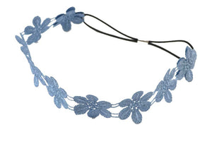 Flower Applique Headband-Blue