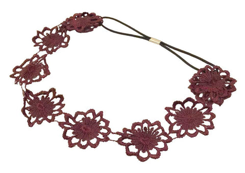 Flower Applique Headband-Maroon