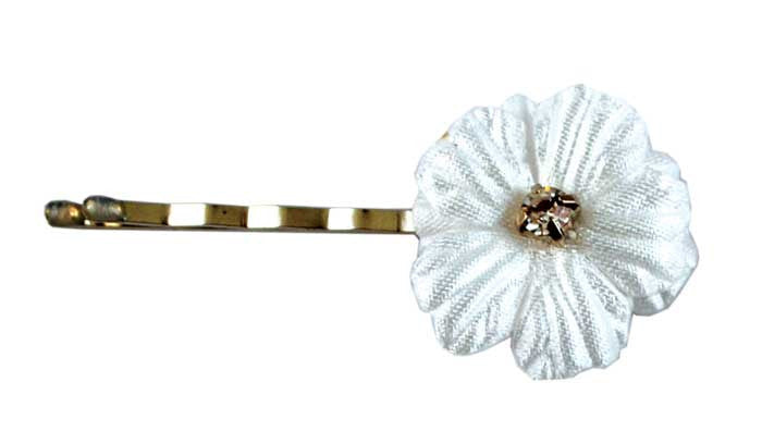 Silk Flower Bob Pins-White Gem pr.