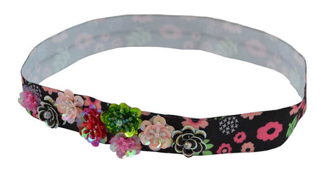 Floral Beaded Headband-Black 8 Sequins Flowers