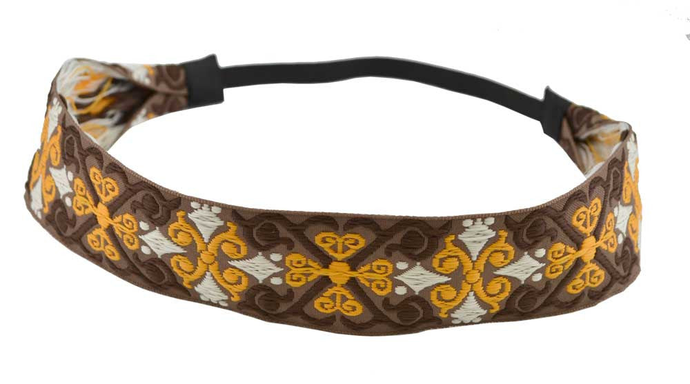 Embroidered Headband-Brown, Yellow and White