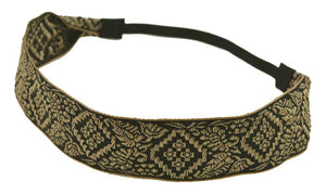 Embroidered Headband-Black, Beige