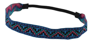 Embroidered Headband-Tribal Blue, Green and Pink