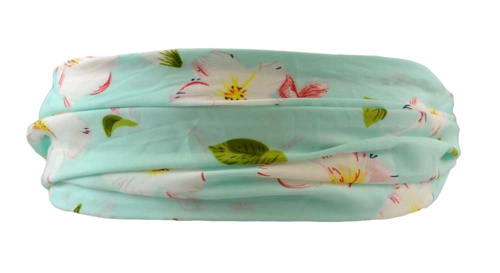 Scarf Headband-Aqua Cherry Blossoms