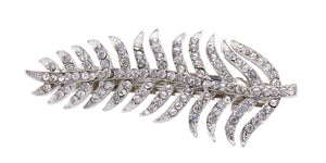 Leaf Pave. Auto Barrette-Clear/Silver