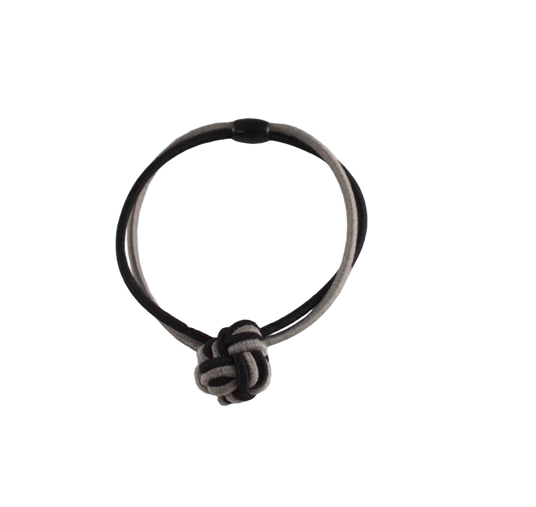 Bi Color Knot Elastic-Black/Gray