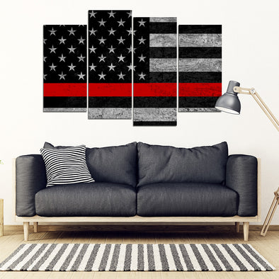 Thin Red Line American Flag 4 Piece Framed Canvas Set