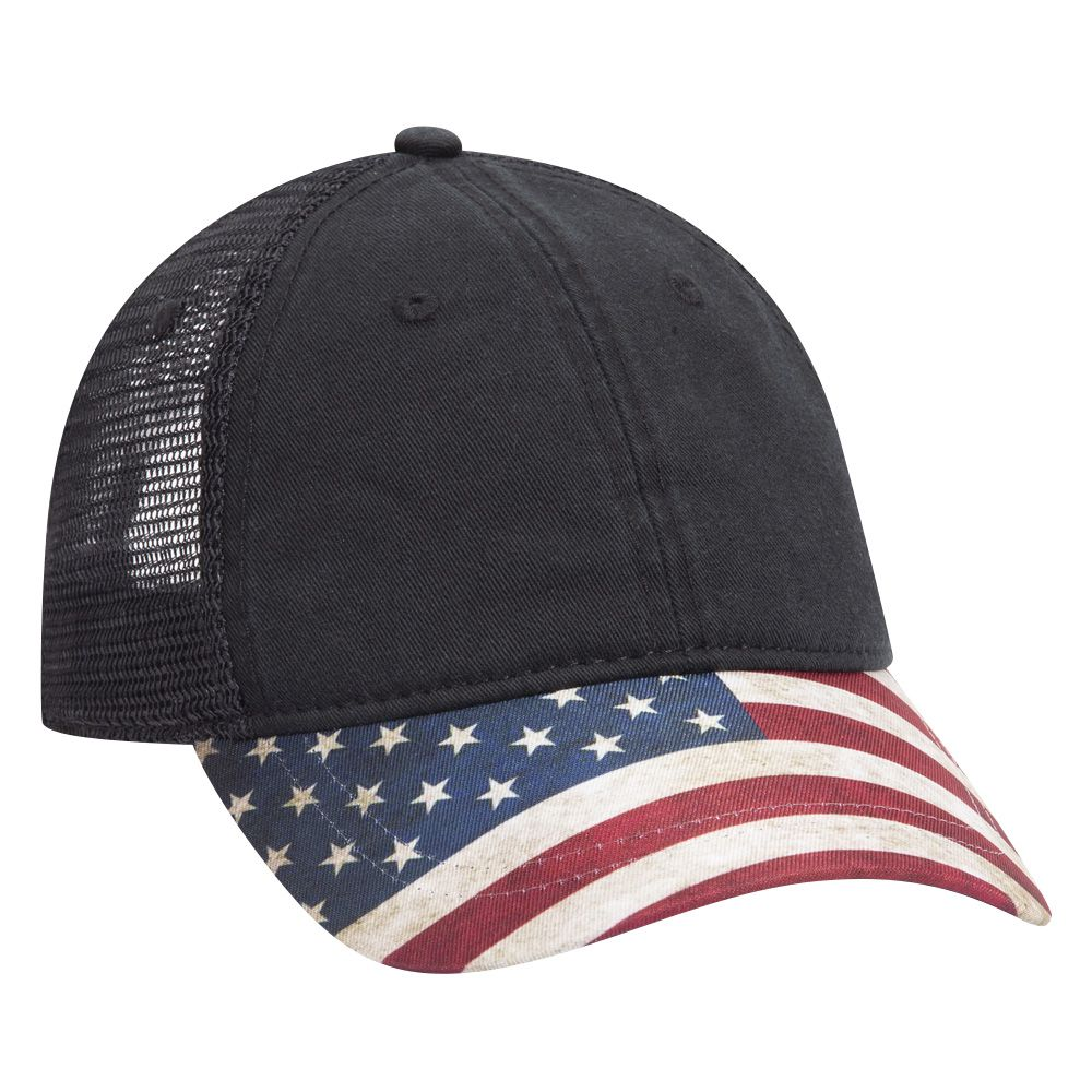SIX PANEL LOW PROFILE UNITED STATES FLAG DESIGN VISOR GARMENT WASHED SUPERIOR COTTON TWILL SOFT MESH BACK CAP