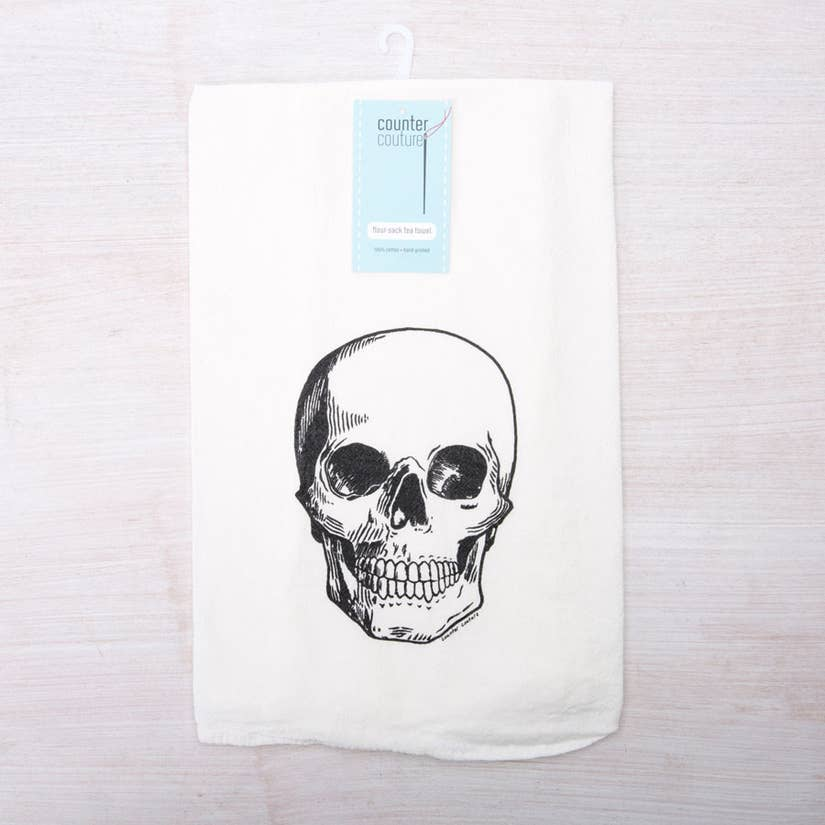 Skull Flour Sack Tea Towel