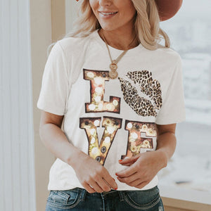 White Crew Neck Cartoon Letter Print Tee