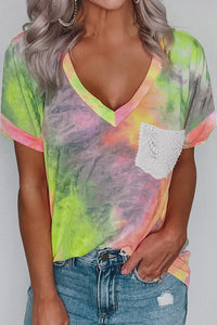 Yellow Lace Pocket Tie-dye V Neck T-shirt
